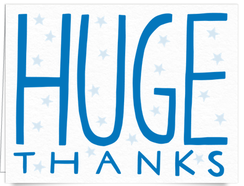 Blue Huge Thanks Card