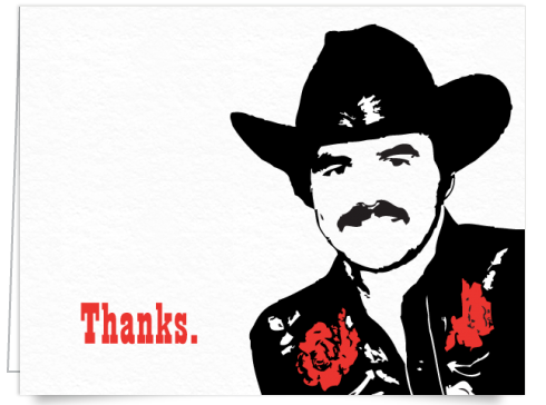 Burt Reynolds Illustration Thank You Card