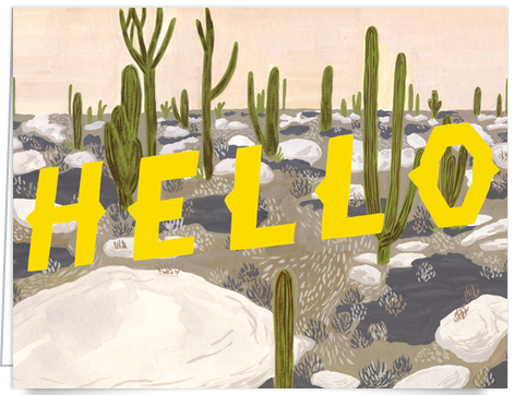 Hand painted desert scene Hello card