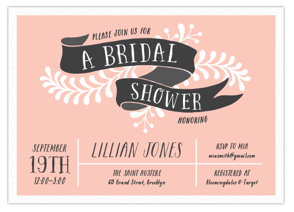 Pretty Pink Banner Bridal Party Invitation