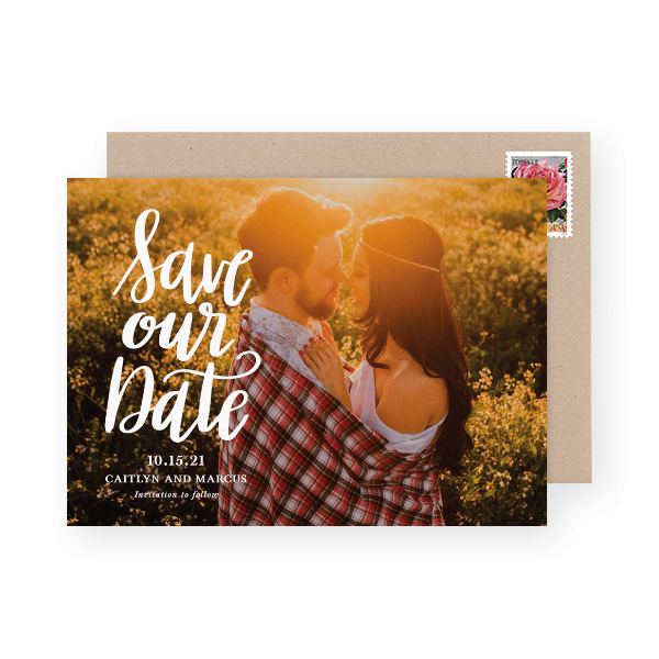 photo save the date with script