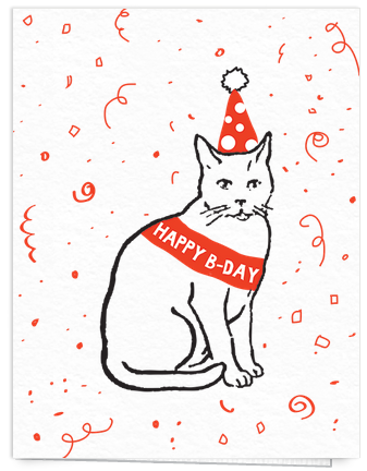 funny cat birthday cart
