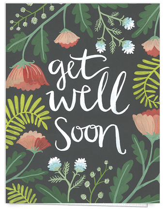 hand painted floral get well soon card