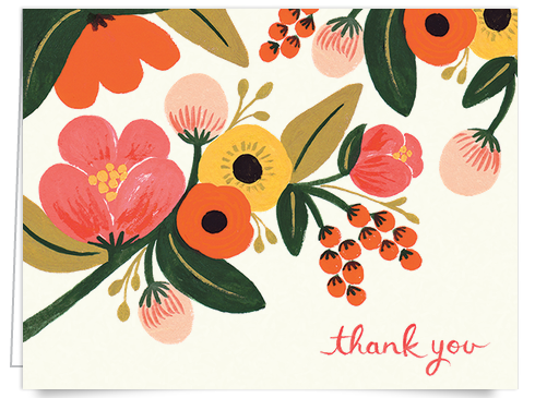 hand painted floral rifle thank you card