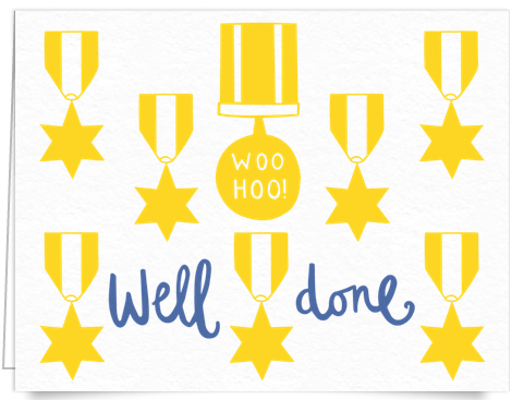 hand painted gold medals congratulations card