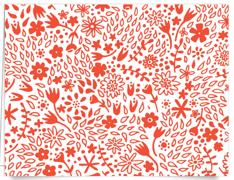 Hand drawn red floral stationery