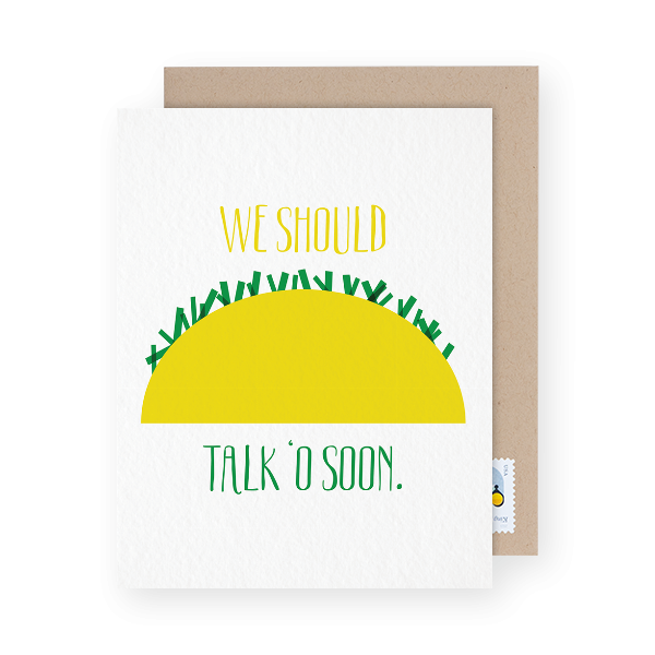 i miss you card with a taco