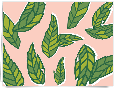 hand drawn leaf stationery