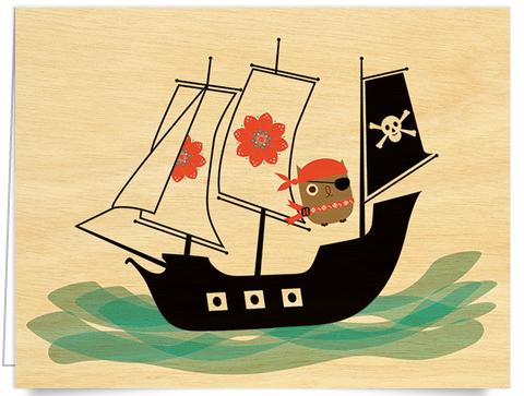 cute pirate ship card