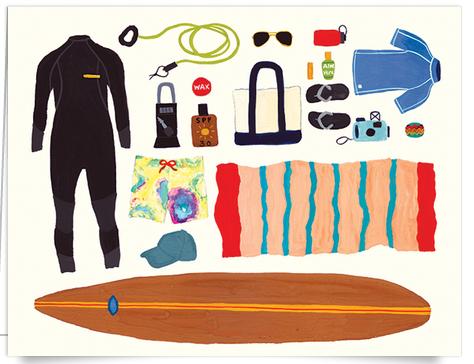 Hand painted summer beach art card