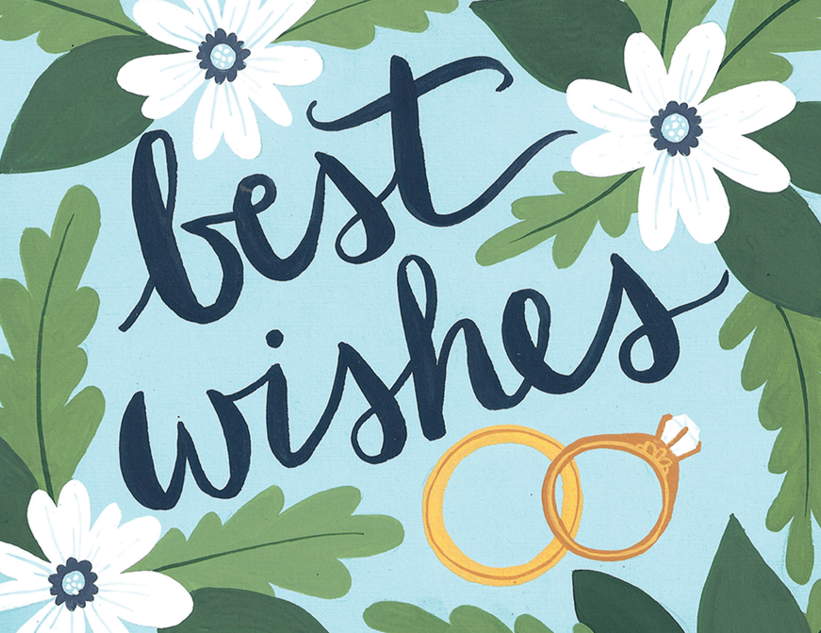 hand painted best wishes engagement card