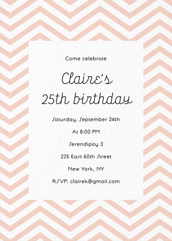 Planning Your First Elegantly Pink Birthday Party For New Ly Adult Self Click And Send Out These Lovely Chevron Invites