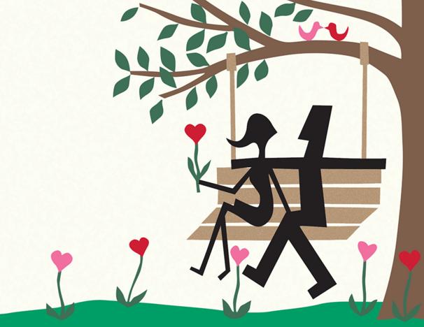 lovers-on-a-swing-sillouhette-card