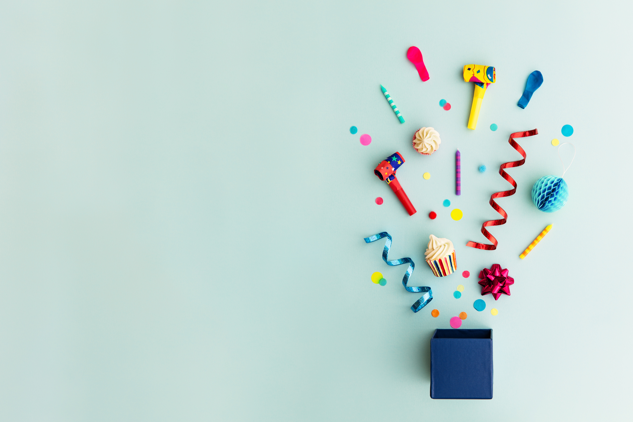 Objects for a birthday party