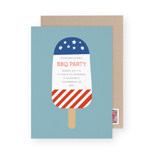 red white and blue party invitation
