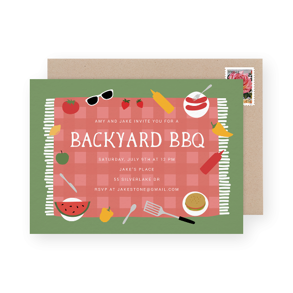 Picnic blanket party invitation