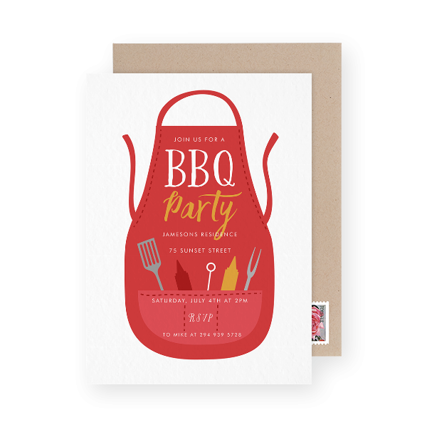 Grill Apron BBQ party invitation