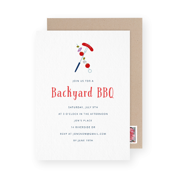 Shish kebab BBQ party invitation