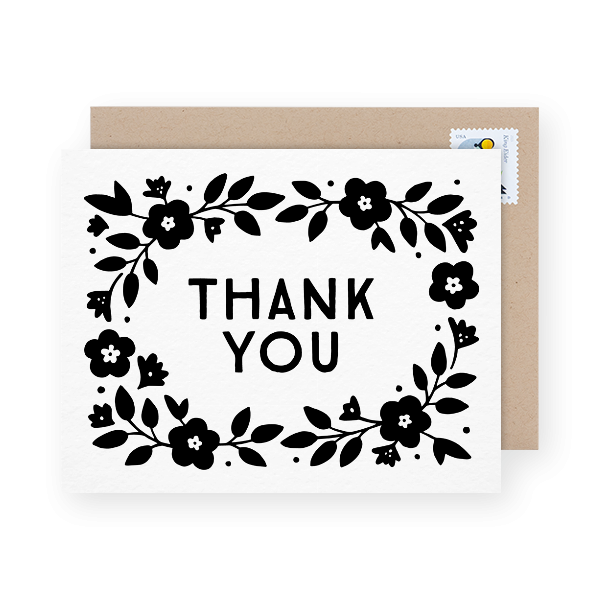 lovely floral black and white thank you card