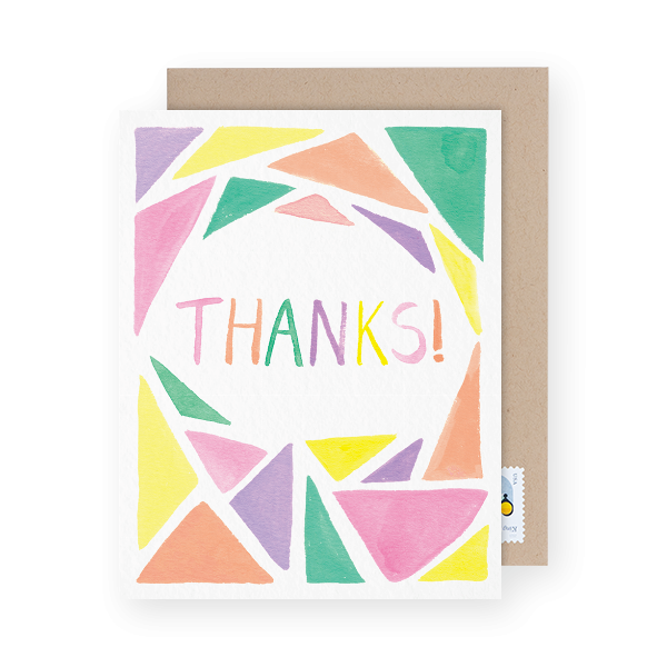 pastel geometric thank you greeting card