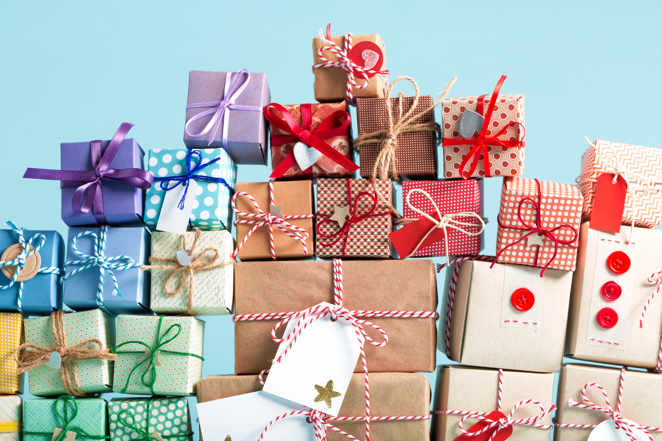 Collection of Christmas present boxes