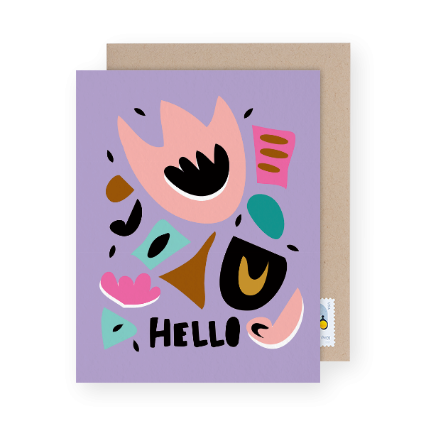 modern funky colored hello card