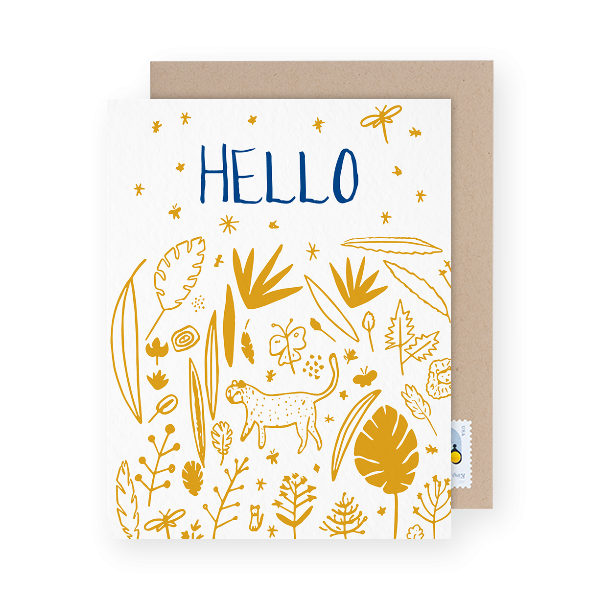 gold illustrated hello greeting card