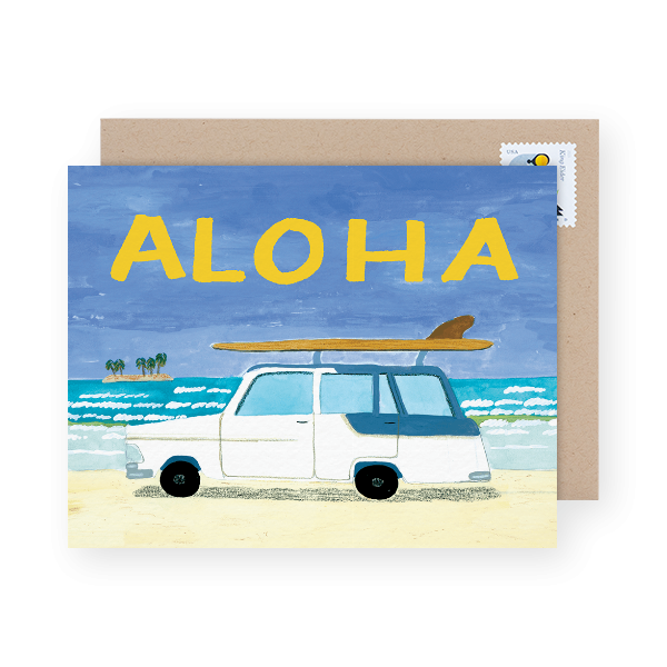 painted Hawaiian beach scene Aloha card