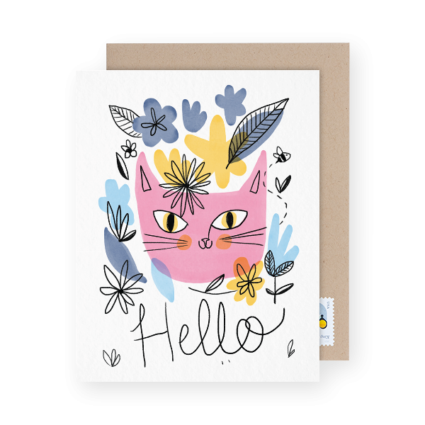cat illustrated hello card