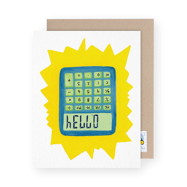 calculator illustration hello card