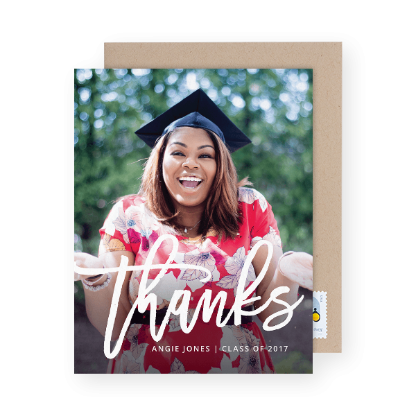 graduation thank you card with a photo