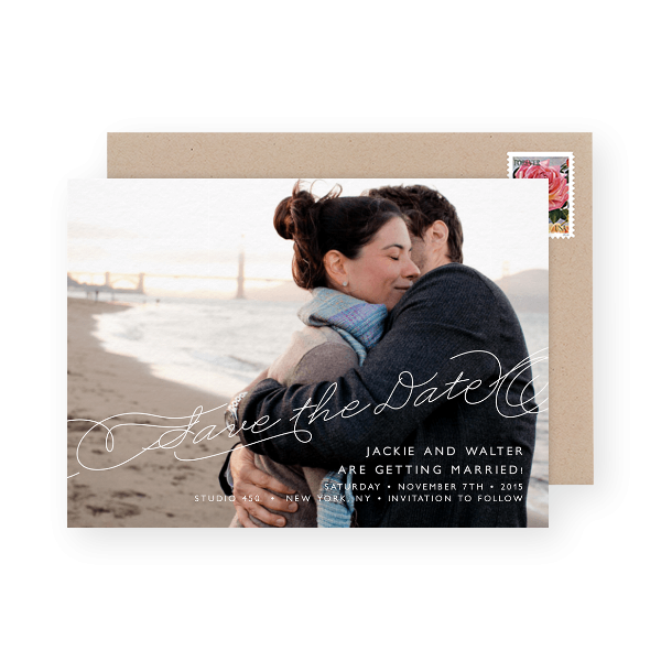 lovely-save-the-date-script-photo-card