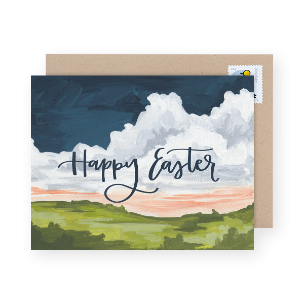 hand painted easter greeting card