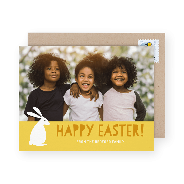 yellow photo easter card