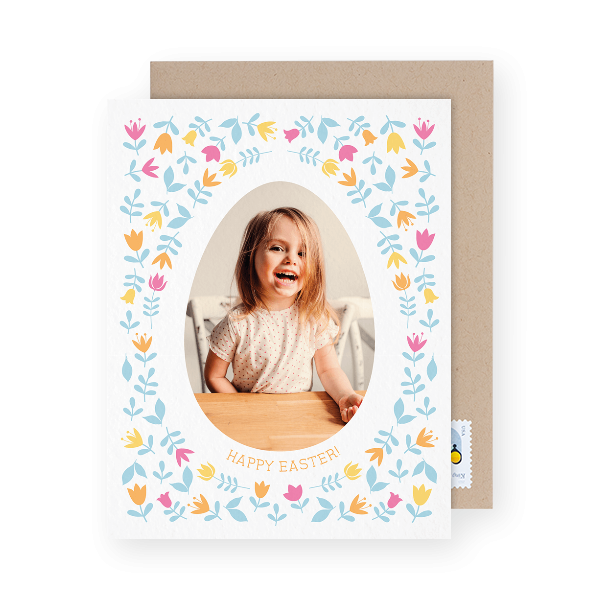floral photo easter card