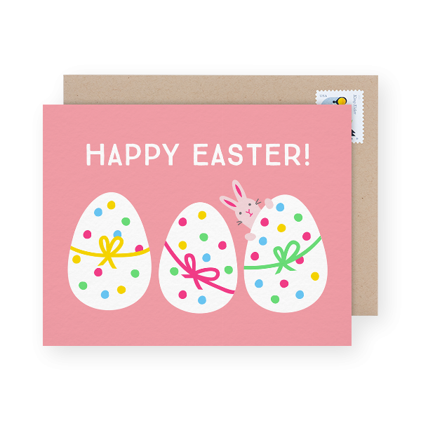 pink easter greeting card