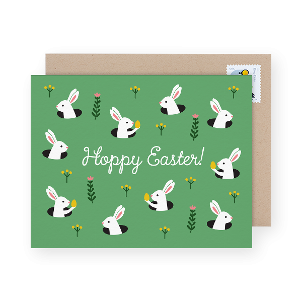 green bunnies easter card