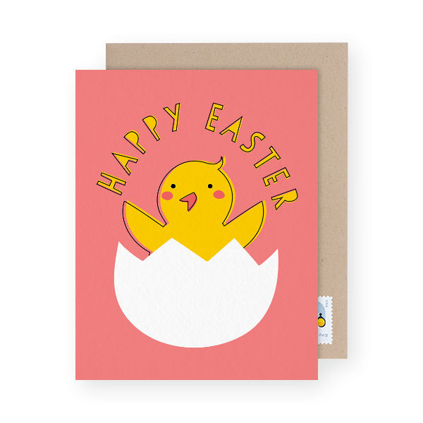 adorable chick easter greeting card