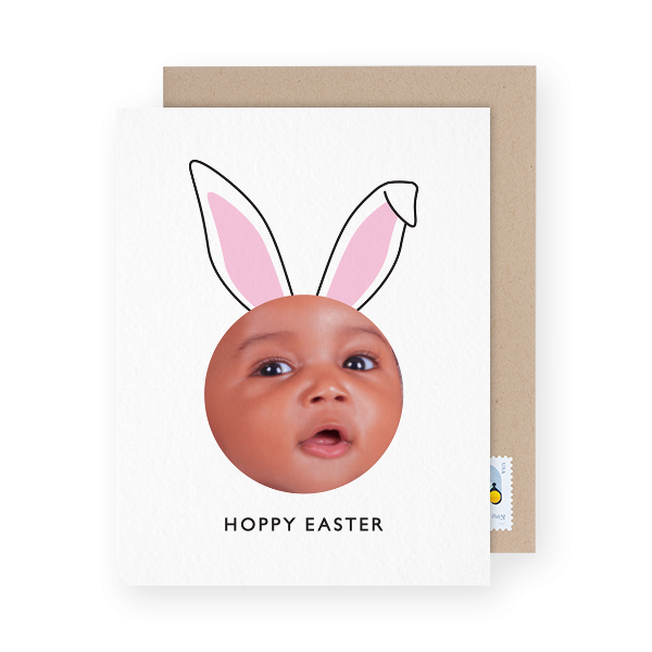 Bunny ears photo easter card