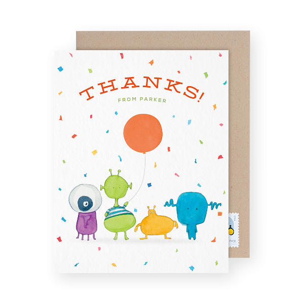 colorful kids thank you card