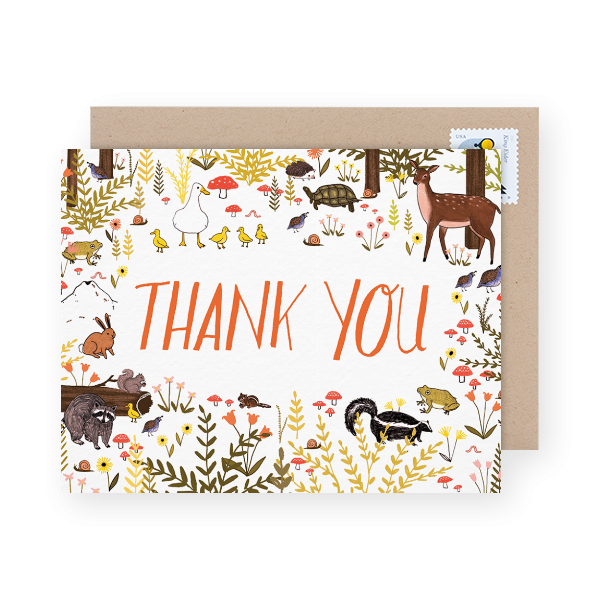 woodland kids thank you note
