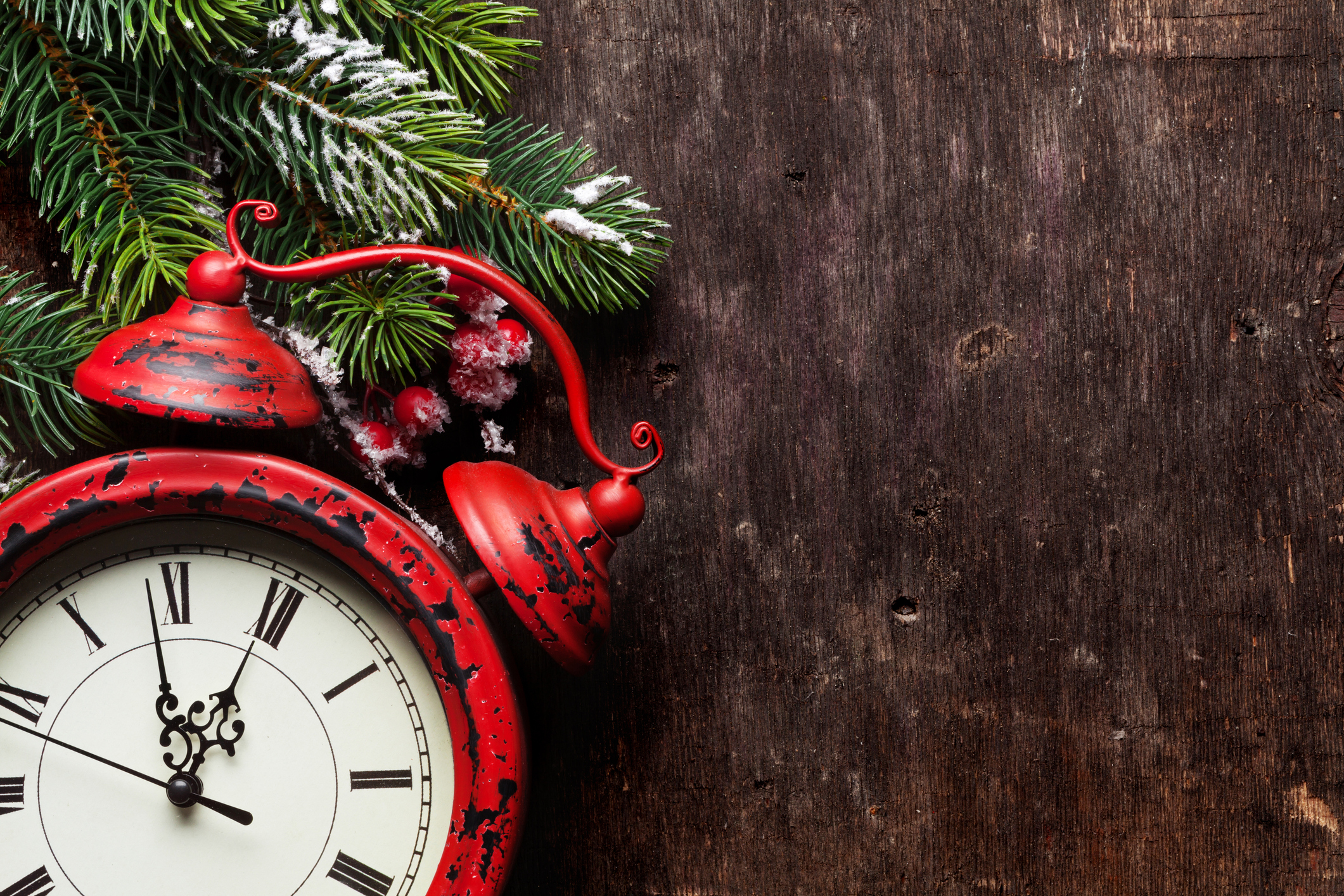 Christmas fir tree and alarm clock