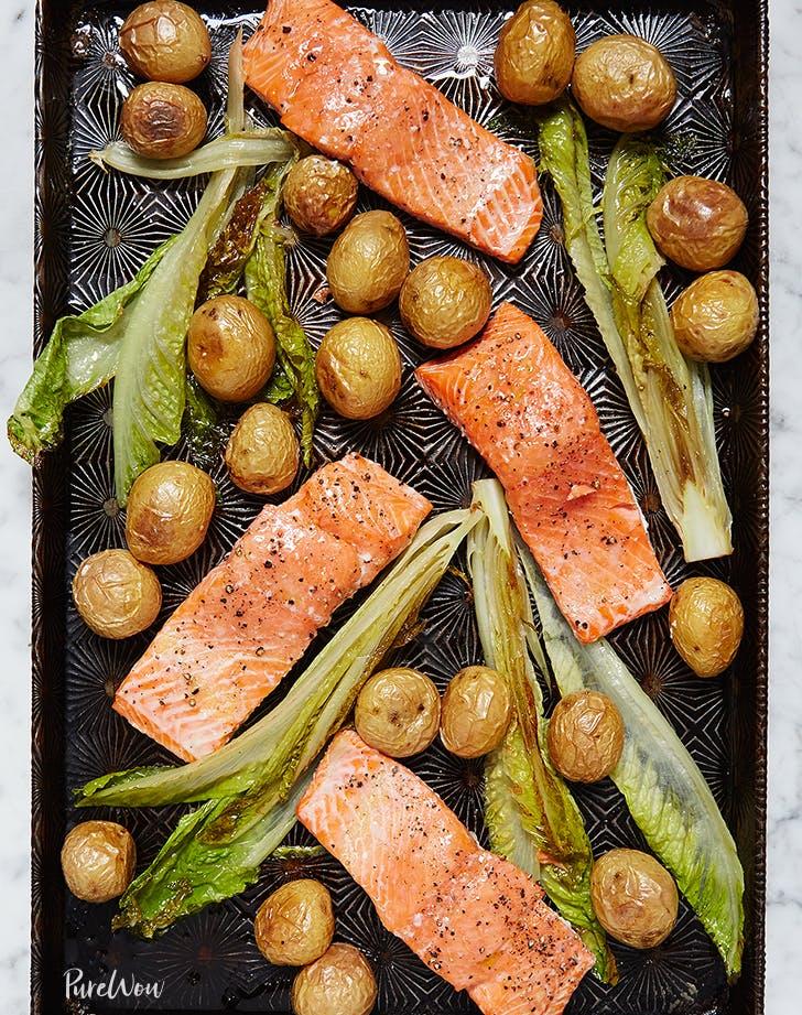 one-pan-roasted-salmon-potatoes-romaine-recipe