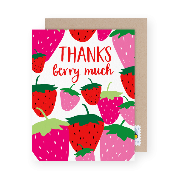 birthday thank you card with strawberries