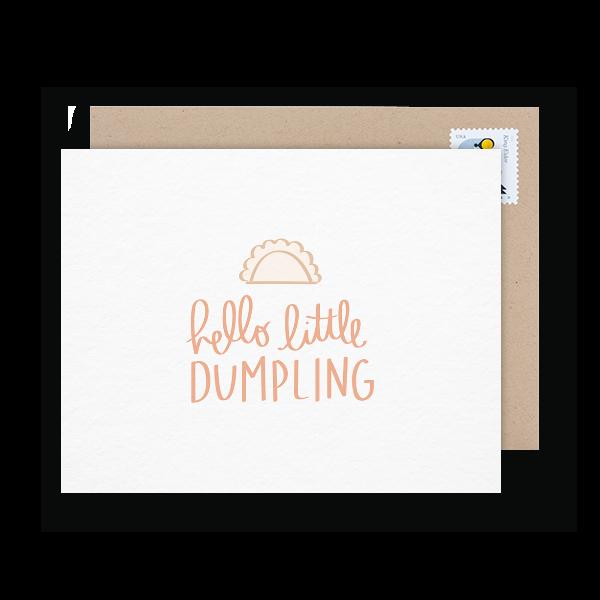 hello little dumpling congrats card