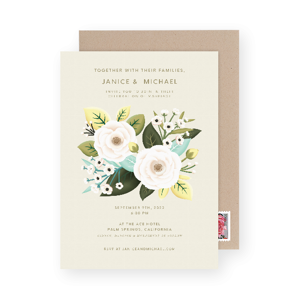 beautiful botanical garden wedding invitation