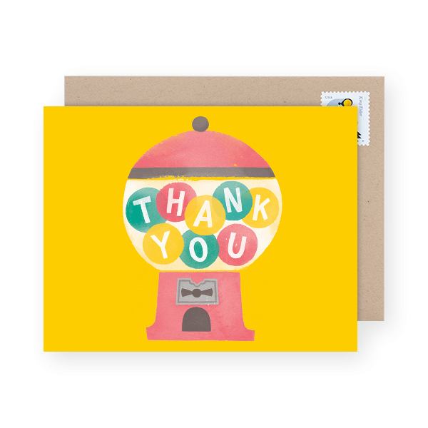 gum ball baby shower thank you cards