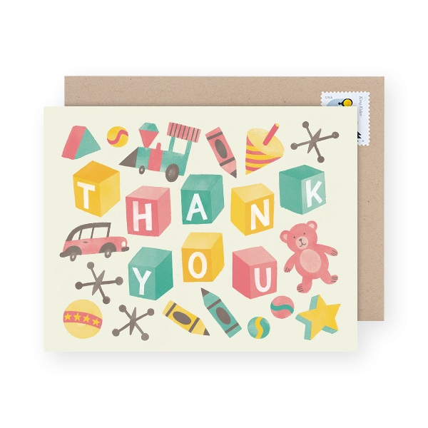 vintage toys illustration on a baby shower thank you card