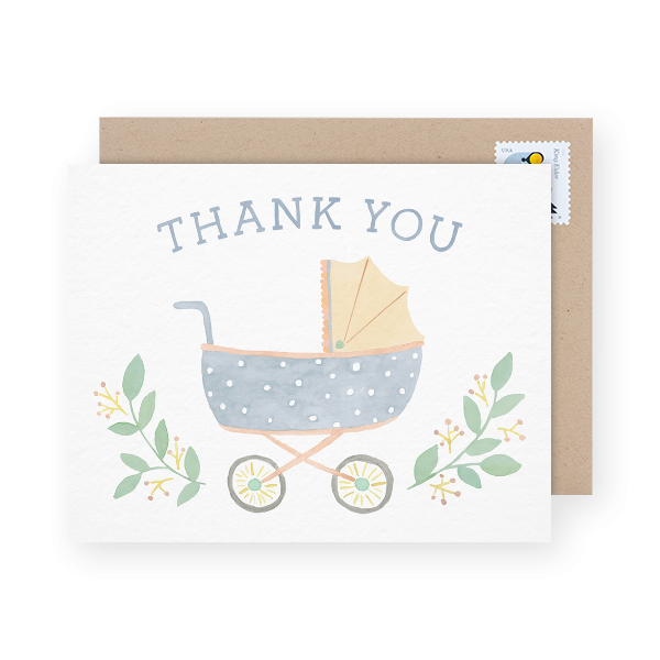 baby stroller baby shower thank you card