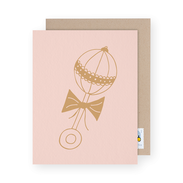 baby rattle designed baby shower thank you cards